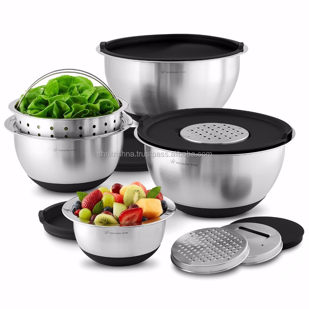 stainless-steel mixing bowls with Lids Piece set, Black