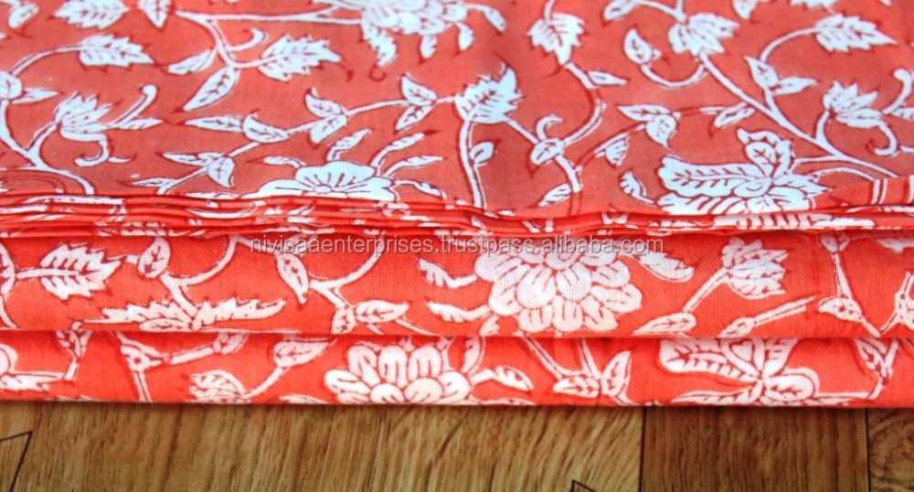 Indian Floral Print Cotton Fabric Block print Natural Cotton Fabric
