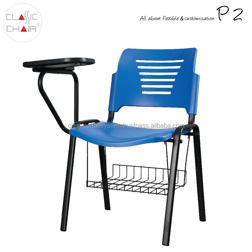 PP Plastic Student Training Chair with Writing Pad and Basket