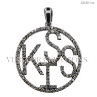 Round Kiss Of Kiss Pave Diamond Designer 925 Sterling Silver Diamond Pave Kiss Alphabet Pendant Jewelry Very Unisex Pendant