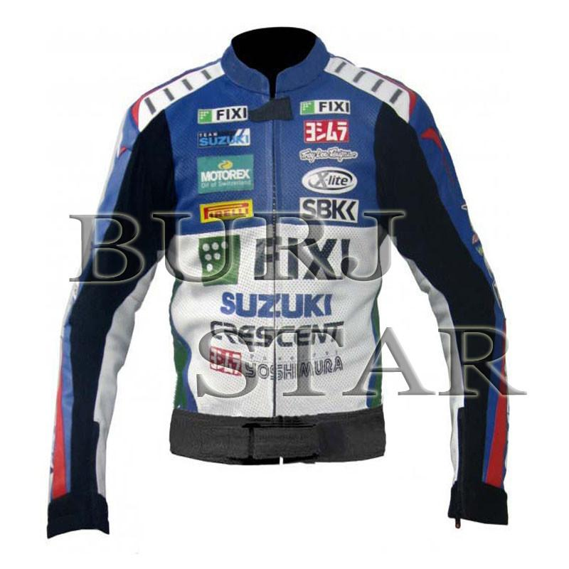 Suzuki Motorcycle Racing Leather Jacket - Full Safety Jacket Genuine Cowhide Leather