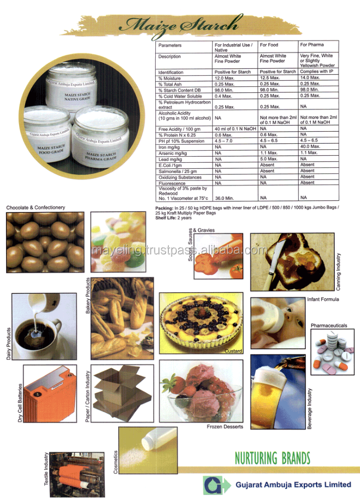 Native Maize Starch for Food/Pharma/Industrial Grades