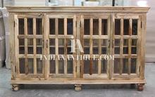INDIAN NATURAL MANGO WOOD FURNITURE - INDIAN GLASS DOOR PANEL SIDEBOARD IA-ASR-10