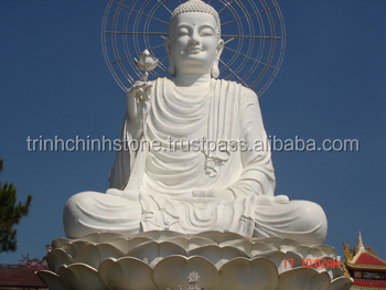Outdoor Shakyamuni Buddha Statues White Marble Stone Hand Carving Sculpture for Temple