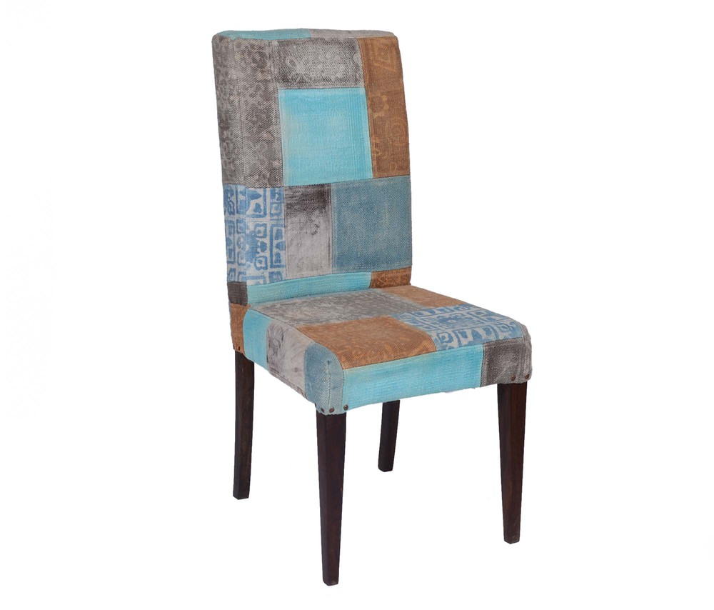 Natural Fibres Upholstered Patchwork Designer Chair