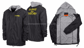 hooded coach jacket with custom inner linning and custom printing