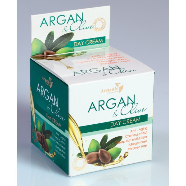 Face Cream Argan and Olive Day Anti-Aging - 50ml. Paraben Free. Made in EU. Private Label