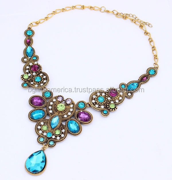 2015 Costume Wedding Jewelry Fashion Gold Plated Natural Coral Necklace