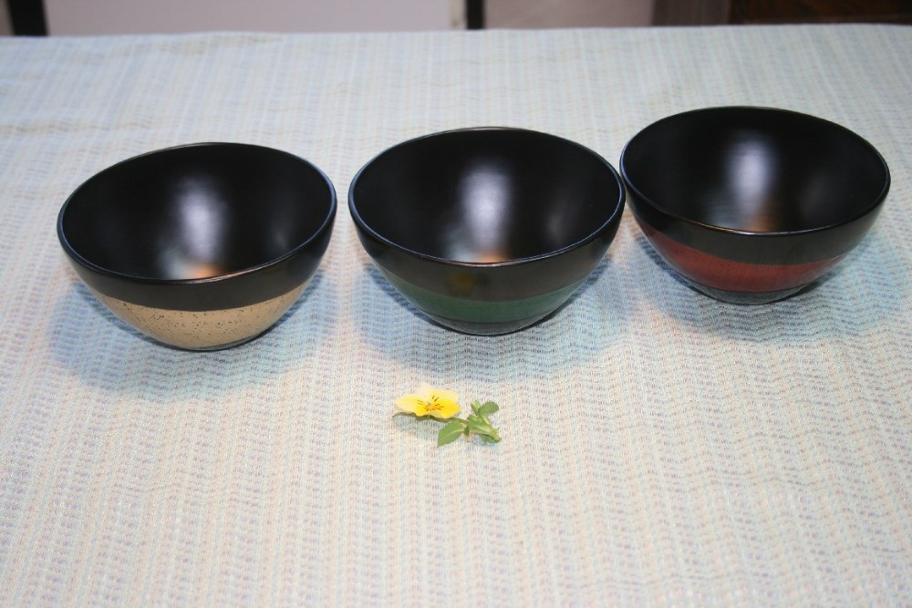 Urushi Craft Japanese Lacquer Ware, traditional urushi ware, hand made exotic ware, red green and yellow