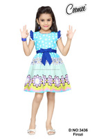 Latest Flower Printed Design Girls Frock