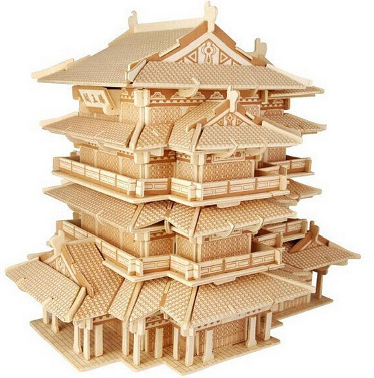 3D wooden toys,3D wooden building jigsaw puzzle, 3D dry toys