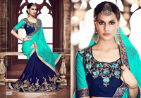 Insightful Turquoise Georgette On Fancy Net Designer Saree/embroidered saree border/wholesale saree