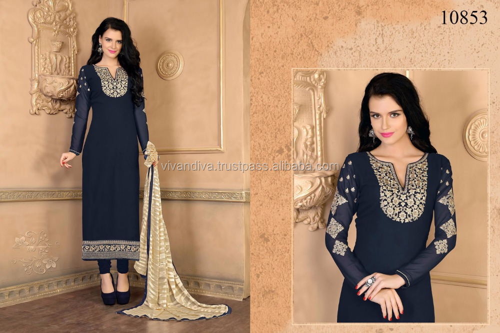 Blue Color Georgette Indian Pakistani Wholesale Salwar Kameez suit