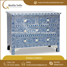 Blue Color Antique Printed Design Bone Inlay Four Drawers Chest Cabinet