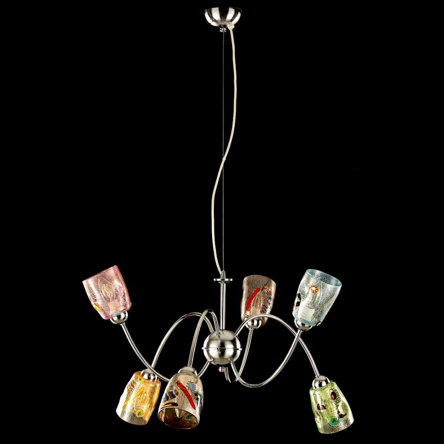 Italy iTaly Murano Glass Chandelier with 6 Lights in Different Colors