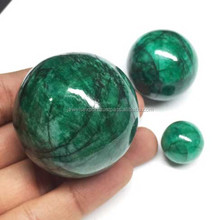 Natural Genuine Certified Smooth Round Ball Sphere African Green Emerald