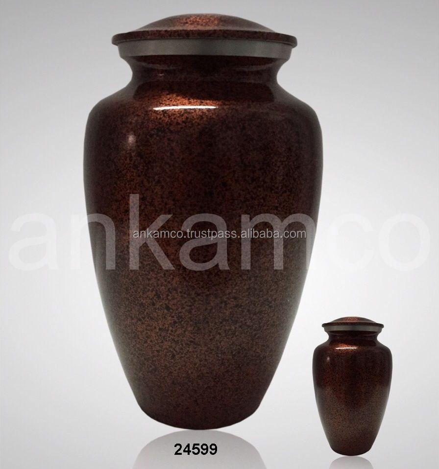 Red Marble Brass Funeral Urn