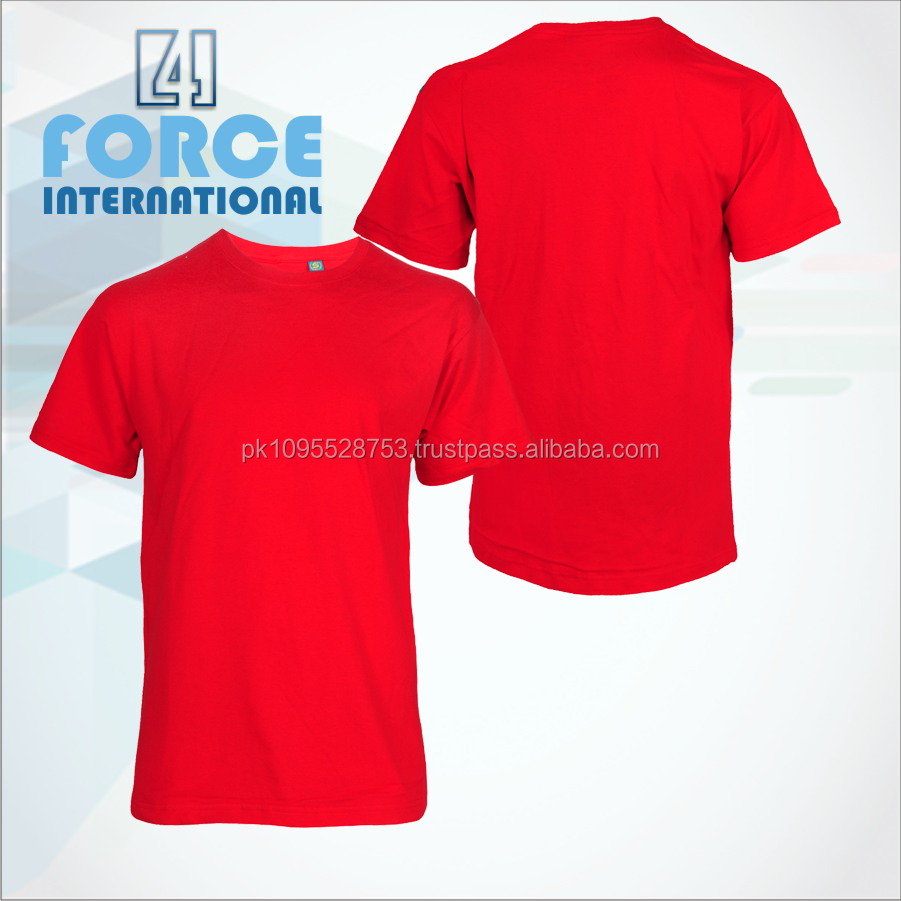 Cheap price cotton made t-shirt/ Red color plain cotton t-shirt