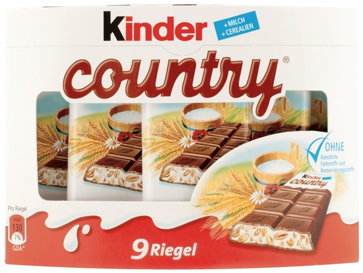 Kinder Country Cereals Milk Chocolate Bars 9 Pcs Sweets Snacks Kids