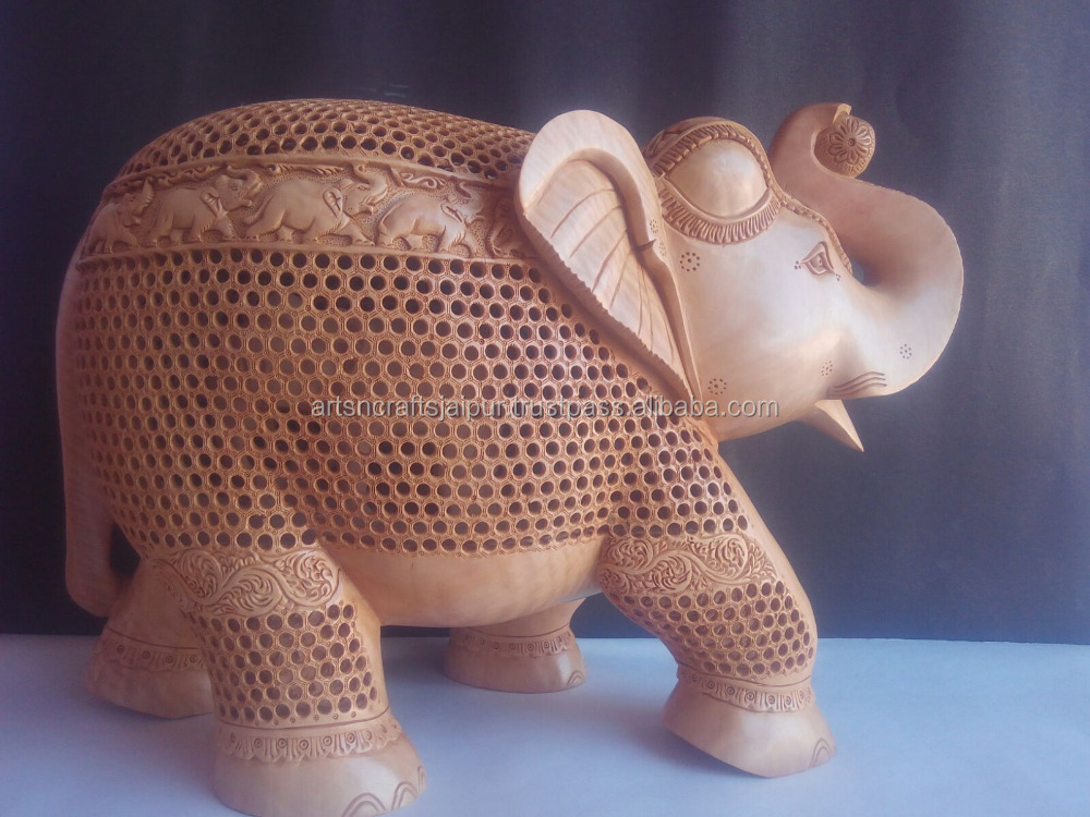 souvenir Indian hand carved elephants carving home decor fine zali work wooden Handicarft
