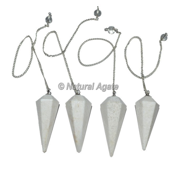 Scolecite 6 Faceted Gemstone Pendulums