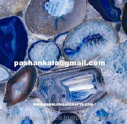 Blue Agate Wall Decorative Tile, Handmade Flooring Natural Stone Agate Tile
