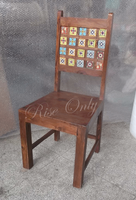 indian wooden beautiful tile fitted luxury chairs wholesale dining room furniture