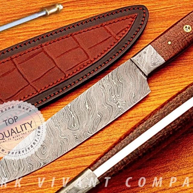 York Vivant-Custom Handmade Damascus Steel Fixed Blade Chef Knife YVC-33 MICARTA+MOSAIC PIN HANDLE