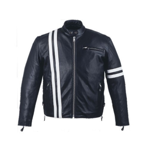 Mens leather biker white stripes motorcycle jacket