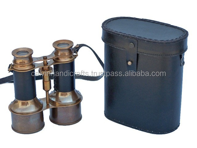 beautiful Nautical Commander's Antique Brass/Leather Belt Binoculars with Leather Case 12129