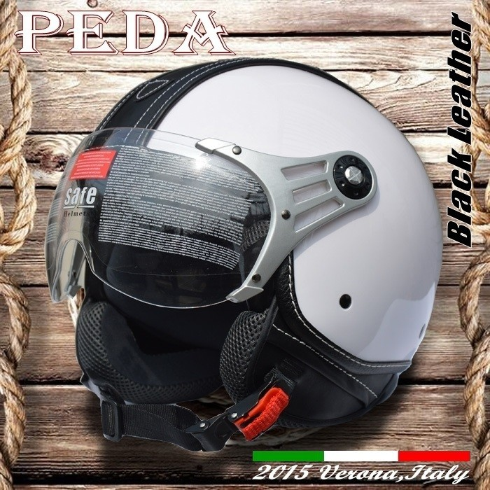 (Black Leather) 2017 NEW ECE open face motorcycle summer helmet CASCO vintage leather Italian unisex(PEDA MOTOR high quality)
