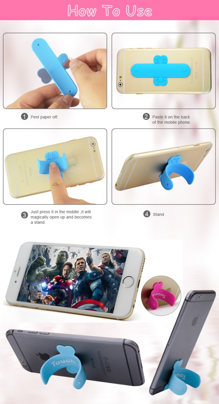 Universal 3M Sticky Silicone Mobile Holder Touch-U C Stand One Touch Phone Stand