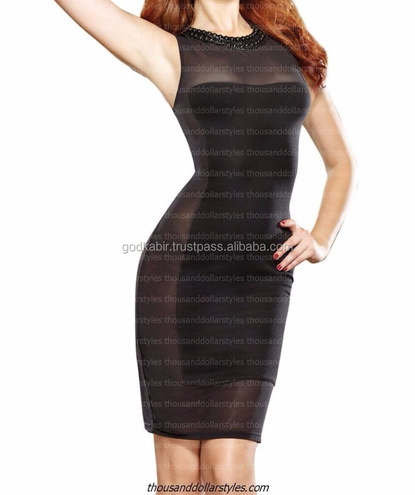 Sexy Illusion Bodycon Asymmetrical Club Dress with Beading Neckline Party DressEvening Dresses