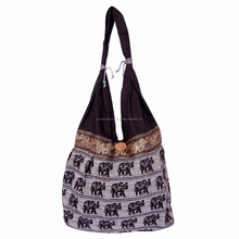 Fancy Traditional Cheap Price Beautifully Custom Luxury Comfortable Zipper Closure Canvas Elephant Print Shoulder Women Bag