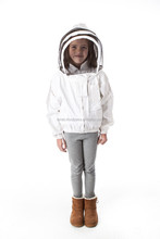 Kids Beekeeping Jacket and Veil Smock With Front Fastening Zip Bee Suit, White Protective Beekeeping Jacket