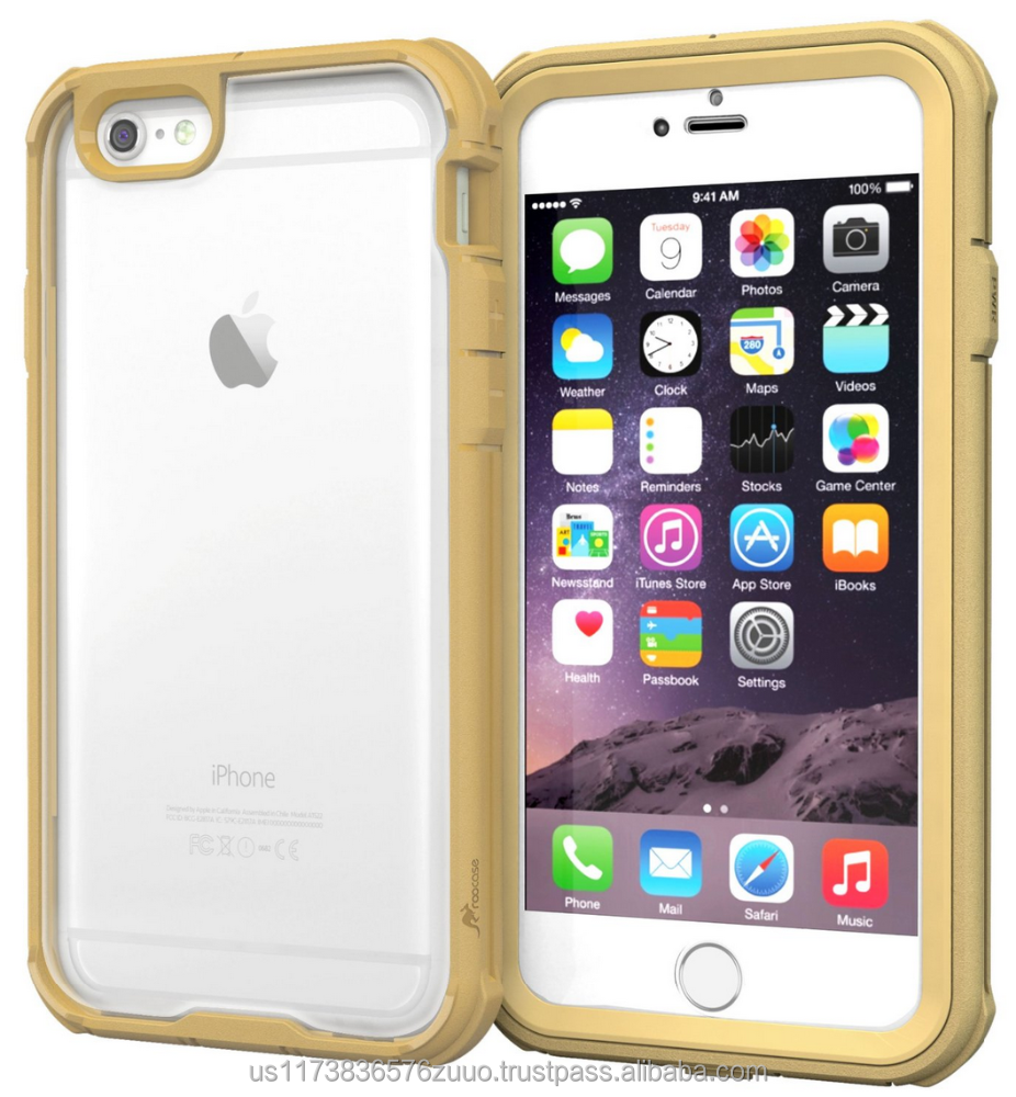 "Scratch Resistant Clear PC/TPU Full Body Protection Case Cover Built-in Screen Protector for iPhone 6 6s 4.7"" roocase (gold)"