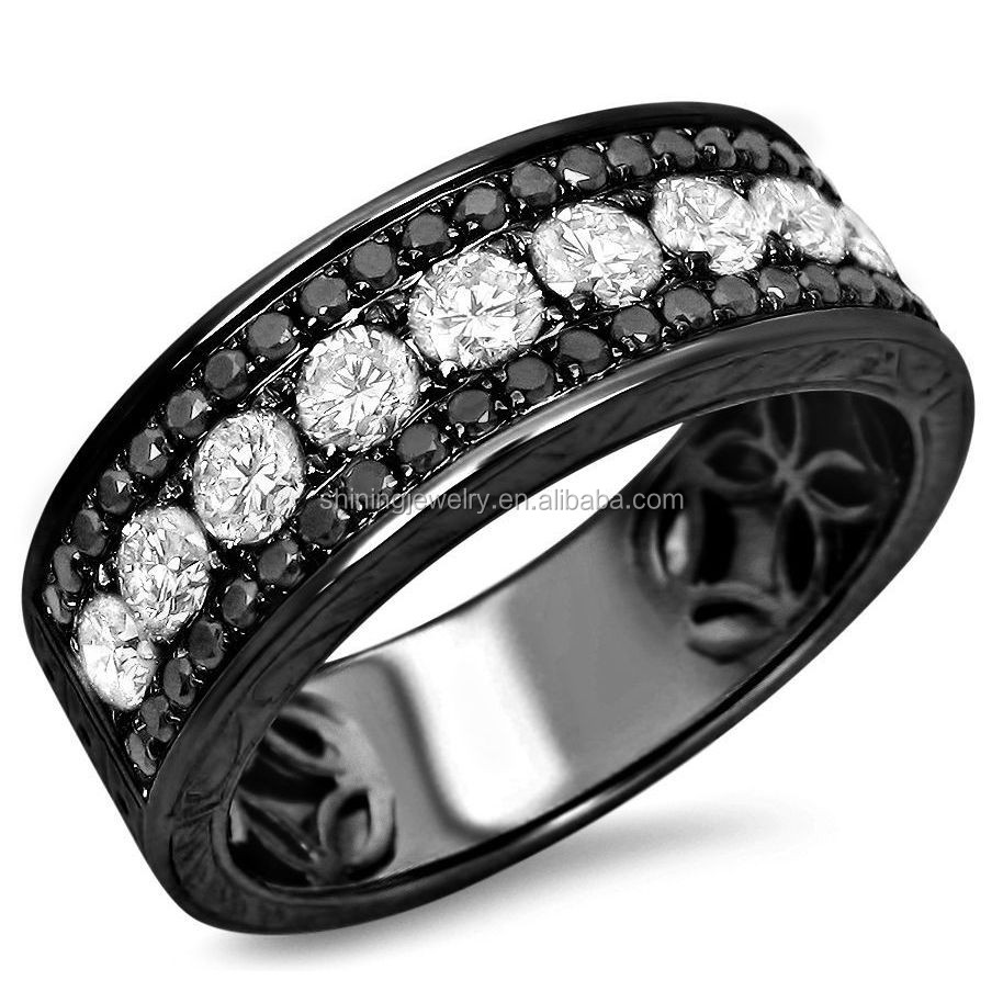 USA hot sell wholesale sterling silver gold plated black gold women rings