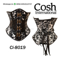 black And White Brocade Underbust Waist Training Corset Supplier