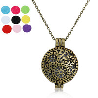 Nonwovens Aromatherapy Essential Oil Diffuser Locket Necklace Round Gear Link Cable Chain Refill Pad Without Essential Oil