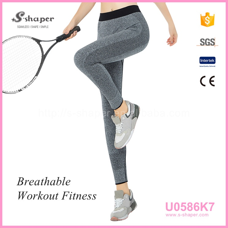 Grey Women Sport Yoga Leggings Seamless Running Gym Tights,Hot Sale Smart Phone Yoga Leggings