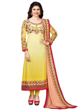 Women's Semi-Stitched Yellowish Colour Georgette With Resham Embroidery Chudidar
