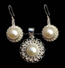 925 Sterling silver ethnic jewelry With pearl gemstone handmade Jewelry Set