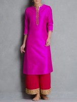Elegant Royal party look Fuschia-Golden Gotta Patti Embellished Raw Silk Kurta Tunics & Kurtas