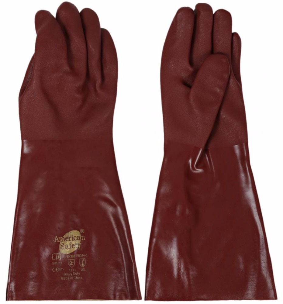Red PVC Double Dipped Rough Finish Safety Gloves Industrial Oil and Gas safety Gloves
