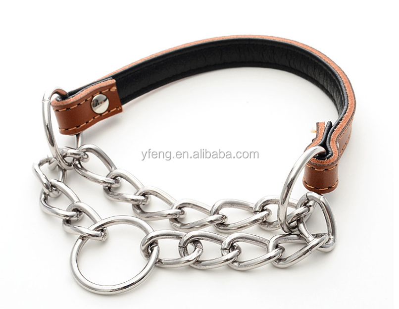 5 Colors Pet Products Genuine Leather Mental Chain Collars Dog Leashes For Medium and Big Dogs