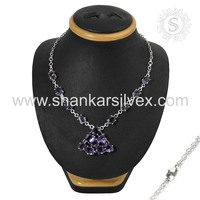 Amethyst Jewelry Women Fashion Silver Jewelry Necklace 925 Silver Jewelry Wholesaler India