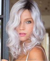 Ombre Silvery White Middle Part Synthetic Wig