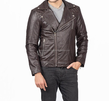 New 2016 Unique Colors Dark Brown Slim Fit Leather Jacket For Men Sialkot