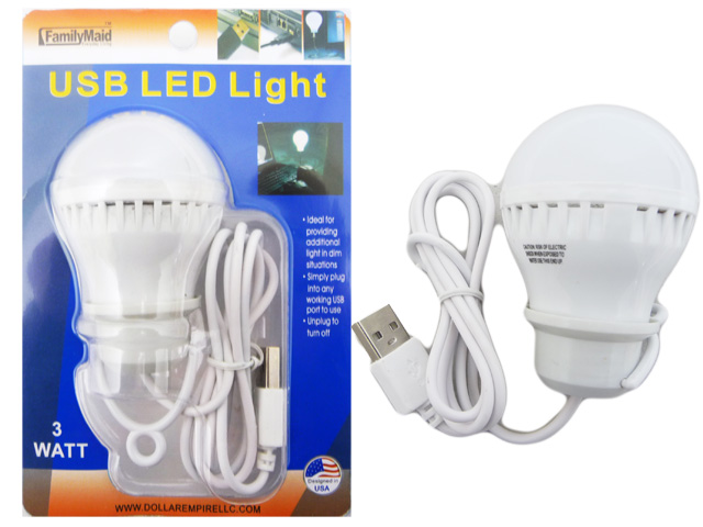 USB LED LIGHT BULB 3W PACKIN 1/PC 24/BX 96/CTN, #33621B