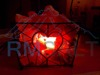 Iron Wrought Basket Lamp with Salt Chunks(Heart Valentine)